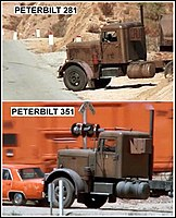 Comparison of the two different trucks used in filming