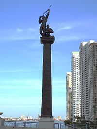 American Indian monument on bridge over the Miami River connecting Brickell with Downtown