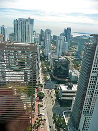 Aerial of Brickell looking down Brickell Avenue from Icon Brickell.