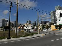 West Brickell in 2011 before a second high rise building boom in the 2010s
