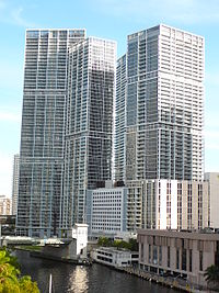 The Icon Brickell complex marks the northern entrance to the Brickell Financial District on Brickell Avenue.