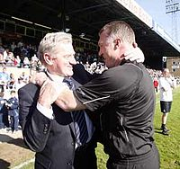 Pearson and Mandarić after winning the Football League One title.