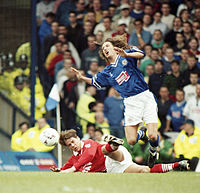 Robbie Savage in action against Barnsley during the 1997–98 season.