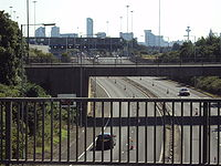 The Wallasey entrance to the Kingsway Tunnel. Liverpool's skyline is visible in the background