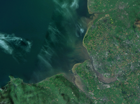 Satellite imagery showing Liverpool Bay, Liverpool and the wider Merseyside area