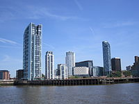 Apartment buildings within Liverpool's new commercial district