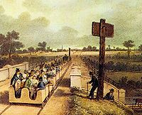 Inaugural journey of the Liverpool and Manchester Railway in 1830, the first-ever commercial railway line.