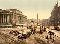 Lime Street, Liverpool, in the 1890s, St.George's Hall to the left, Great North Western Hotel to the right, Walker Art Gallery and Sessions House in the background. Statues of Prince Albert, Disraeli, Queen Victoria and Wellington's Column in the middle ground.