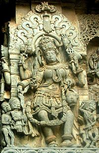 Intricate stone sculpture work typical of Hoysala architecture