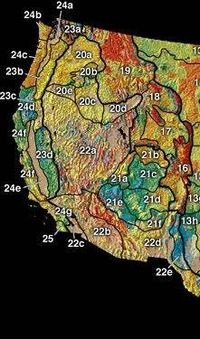 The Western United States is subdivided into three major physiographic regions: the Rocky Mountains (16–19), the Intermontane Plateaus (20–22), and the Pacific Mountains (23–25)