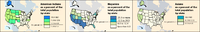 These maps from the 2000 US Census highlight differences from state to state of three minority groups. Note that most of the American Indian, Hispanic, and Asian population is in the West.