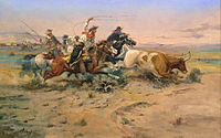 While the West is defined by many occupations, the American cowboy is often used as an icon of the region, here portrayed by C. M. Russell.