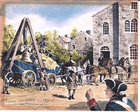 Reproduction of a watercolor by Davis Gray of the arrival of the Liberty Bell at Zion Reformed Church, in Northampton Town, Pennsylvania, on September 24, 1777.)