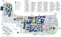 A map of the university campus, with all buildings labelled.