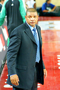 Head coach Doc Rivers led the Celtics to an NBA title in 2008.