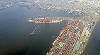 Aerial view of the Port of Manila, the chief port of the Philippines.