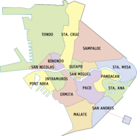 District map of Manila that shows its sixteen districts.