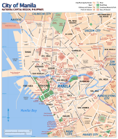 Street map of Manila city proper, with points of interest indicated
