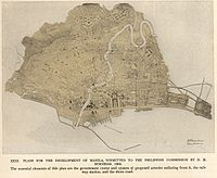 The 1905 Burnham Plan of Manila recommended improving the city's transit systems by creating diagonal arteries radiating from the new central civic district into areas at the outskirts of the city.