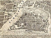 1734 map of the Walled City of Manila. The city was planned according to the Laws of the Indies.