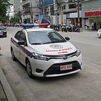A Toyota Vios of the Manila Police District