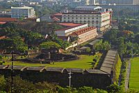The campus of the University of the City of Manila and Baluarte de San Diego in Intramuros.