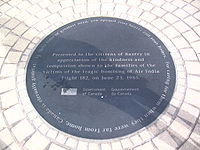 A commemorative plaque presented to the citizens of Bantry, Ireland, by the government of Canada for the residents' kindness and compassion to the families of the victims of Air India Flight 182