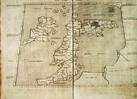 """A 1490 Italian reconstruction of the relevant map of Ptolemy who combined the lines of roads and of the coasting expeditions during the first century of Roman occupation. Two great faults, however, are an eastward-projecting Scotland and none of Ireland seen to be at the same latitude of Wales, which may have been if Ptolemy used Pytheas' measurements of latitude. Whether he did so is a much debated issue. This """"copy"""" appears in blue below."""