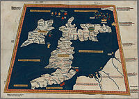 """Prima Europe tabula. A """"copy"""" of Ptolemy's 2nd-century map of Roman Britain. See notes to image above."""