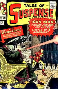 The cover of Tales of Suspense #50 (Feb. 1964), the first appearance of the Mandarin, art by Jack Kirby