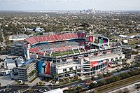 Overhead view of Raymond James Stadium during the lead-up to Super Bowl LV.