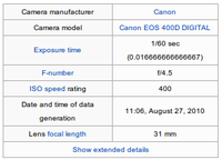 An example of an image's Exif metadata that might be used to prove its origin