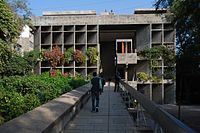 Mill Owners' Association Building, designed by Le Corbusier, and completed in 1954..