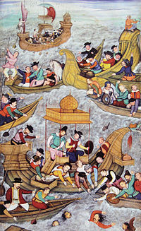 Death of Bahadur Shah of Gujarat an Ottoman ally at Diu, in front of the Portuguese, in 1537; (Illustration from the Akbarnama, end of 16th century).