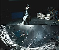 Original (top) and effects (bottom) shots of the Valkyrie flashback sequence in Thor: Ragnarok