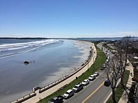 View over Lynn Shore Drive to Nahant and Boston