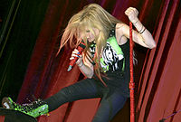 Lavigne during a performance in Belo Horizonte, August 2011
