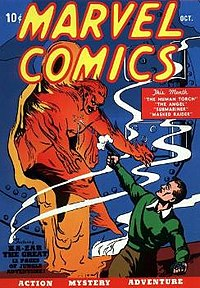 Marvel Comics #1 (Oct. 1939), the first comic from Marvel precursor Timely Comics. Cover art by Frank R. Paul.