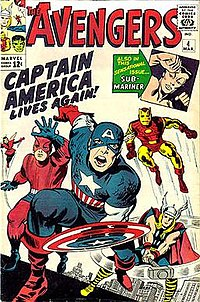Cover of The Avengers #4 (Mar, 1964), featuring the return of Captain America. Art by Jack Kirby.