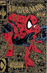 """Spider-Man #1, later renamed """"Peter Parker: Spider-Man"""" (August 1990; second printing). Cover art by Todd McFarlane."""