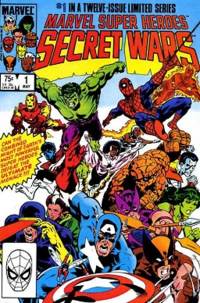 Marvel Super Heroes Secret Wars #1 (May 1984). Cover art by Mike Zeck depicting Captain America, Wolverine, Cyclops, Hawkeye, Rogue, She-Hulk, The Thing, Colossus, Monica Rambeau, Nightcrawler, Spider-Man, Human Torch, Hulk, Iron Man and Storm.