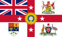 A flag that was distributed as a souvenir at the exhibition. It combines the symbols of the United Kingdom, Canada, Australia, New Zealand, South Africa, and India to represent the British Empire as a whole.