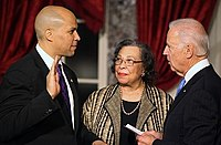 Booker's swearing in as Senator, with his mother and Vice President Joe Biden