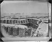 """Fascine Trench Breastworks, Petersburg, Va. – NARA – 524792. Although identified as Confederate Trenches this is actually Union Fort Sedgwick aka """"Fort Hell"""" which was opposite Fort Mahone aka """"Fort Damnation""""<ref>Civil War talk Forum</ref>"""