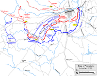 Grant's assault on the Petersburg line and the start of Lee's retreat.