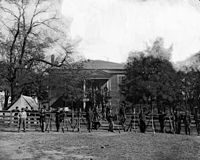 Union soldiers at the courthouse in April 1865.