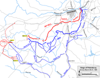 Actions at Petersburg before and during the Battle of Five Forks