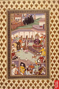 The first Mughal Emperor Babur greets courtiers during the Eid al-Fitr festival