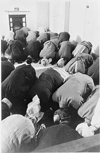 Muslims in Britain performing the Eid prayers during the celebration, 1941