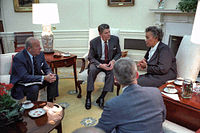 Reagan meets with Prime Minister Eugenia Charles of Dominica in the Oval Office about ongoing events in Grenada